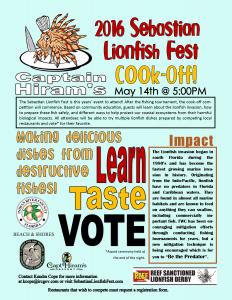 2016 Sebastian Lionfish Fest & Cook-Off! @ Captian Hirams | Sebastian | Florida | United States