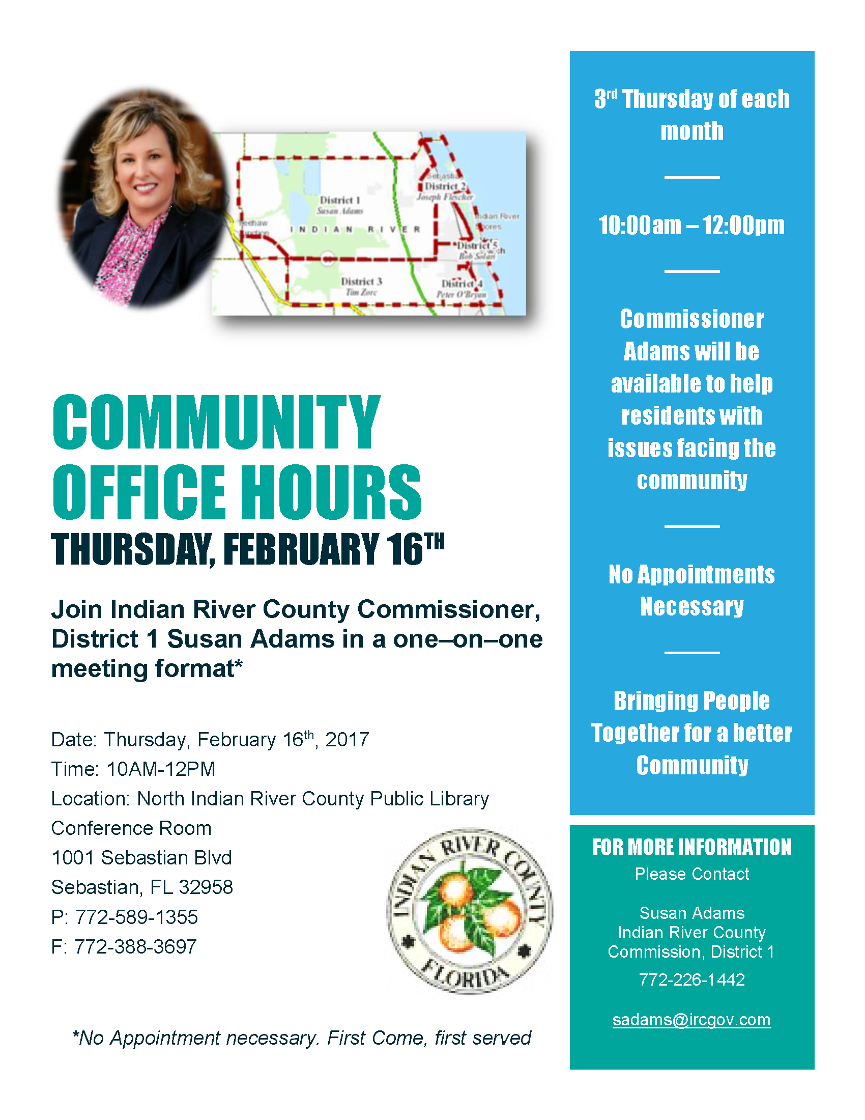 Community Office Hours - One-on-one with Commissioner Adams, District 1 @ North Indian River County Public Library | Sebastian | Florida | United States
