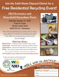 FREE Residential Recycling Event @ North County Aquatic Center | Sebastian | Florida | United States