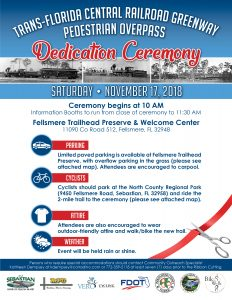 Trans-Florida Central Railroad Greenway Pedestrian Overpass Dedication Ceremony @ Fellsmere Trailhead Preserve & Welcome Center | Fellsmere | Florida | United States