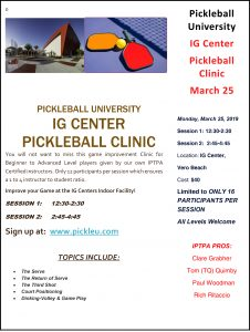 Pickleball Clinic @ iG Center | Vero Beach | Florida | United States