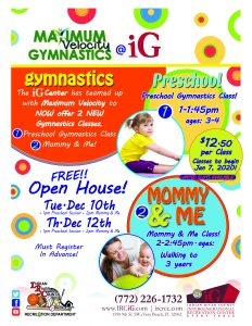 FREE Open House - Preschool Gymnastics COMING to iG! @ iG Center
