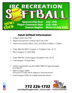Adult Softball Season Begins @ Indian River County Recreation Department