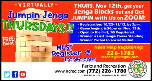 """""""Virtually"""" Jumpin Jenga Thursdays - FREE Online Event @ Online Event with IRC Parks & Recration"""