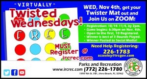 """Virtually"" Twisted Wednesdays - FREE Online Event @ ONLINE with IRC Parks & Rec"