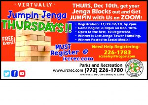 Virtually Jumpin Jenga Thursdays! Online Event @ Online with Parks & Recreation
