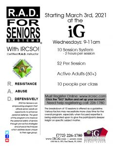 R.A.D. for SENIORS! - Self Defense Program w/IRCSO @ iG Center