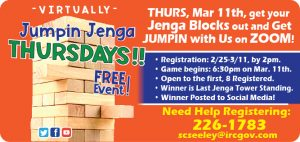 Virtually Jumpin Jenga! March @ Online!