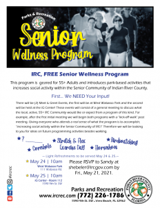 Senior Wellness Program / Meet & Greet - W. Wabasso! @ West Wabasso Park