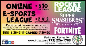 REGISTRATION ENDS! Online E-Sports League - Featuring Fortnite • Rocket League • Super Smash Bros.