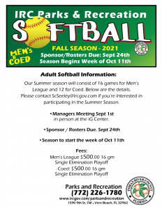 Registration Begins: Fall Softball for Men's and COED League @ iG Center