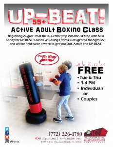 UP-BEAT!   NEW, FREE Active Adult Boxing/Fitness Class for 55+! @ iG Center - Fit Stop