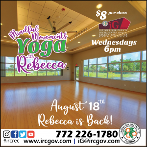 """Yoga with Rebecca """"Mindful Movements"""" is BACK Aug 18th at the iG Center! @ iG Center"""