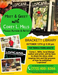 Meet and Greet with Corey L. Mills, Manga Author and Artist @ Brackett Library