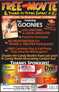 """FREE Outdoor Movie and Trunk er Treat Event! Featuring """"The Goonies!"""" @ iG Center"""